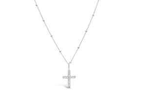 Charm & Chain Diamond Cut - Cross Sterling Silver