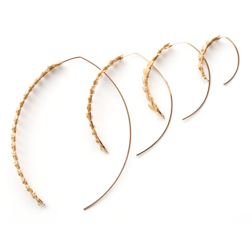 SKIN Soleil SM Fishtail Wishbone Hoop in Gold