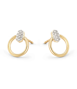 TEGAN MINI HOOP EARRING 14K GOLD WHITE DIAMOND