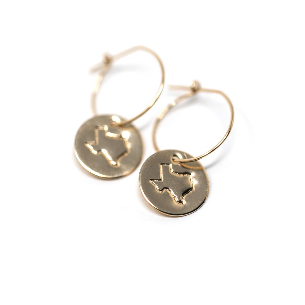Hometown Pride Collection TX Disc Earring 14K