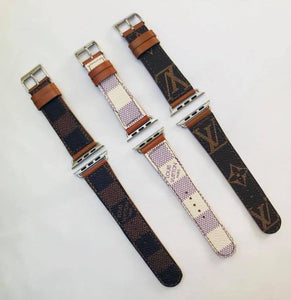 LV 38 MM  WHITE CHECK APPLE WATCH BAND