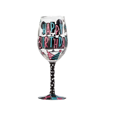 LOLITA GLASS WINE GLASS HAPPY DAY