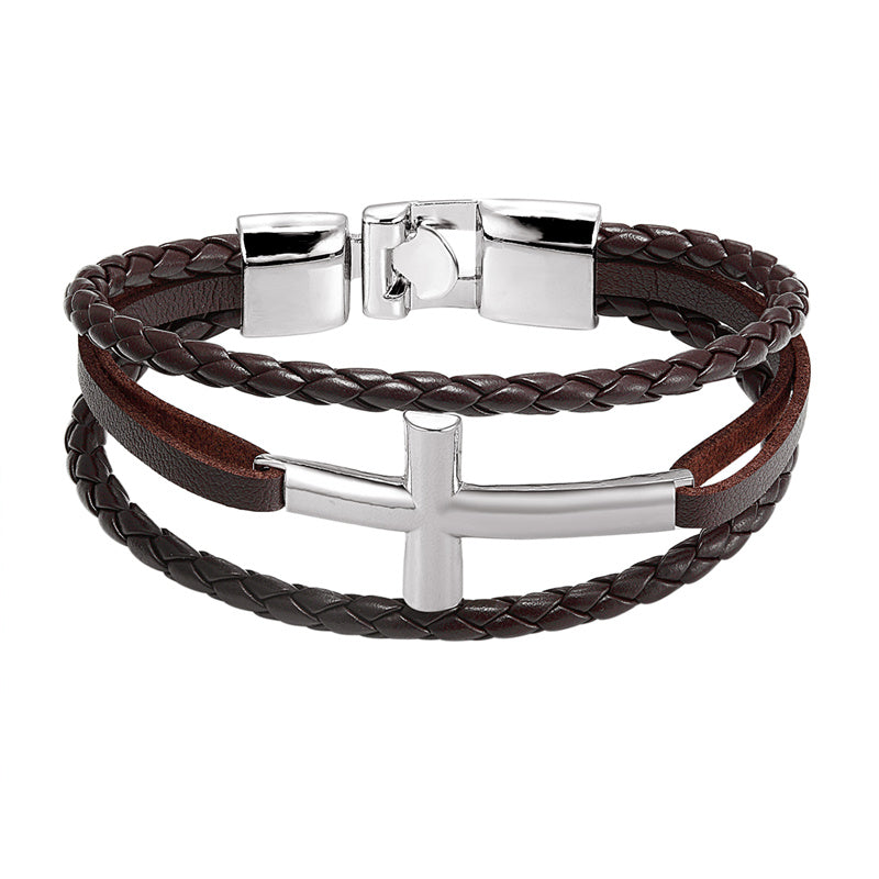 Silver Cross Leather Bracelet (Different colours available)