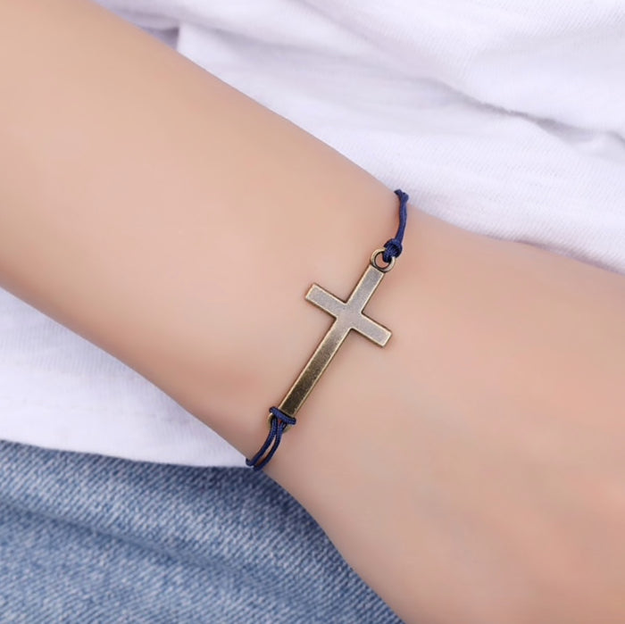 Make a Wish Bracelet - Gold cross
