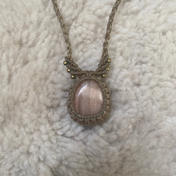 Peach Moonstone wings necklace