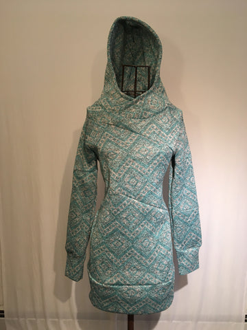 Arctic Hoodie Heather Grey with Mint Green Nordic Print