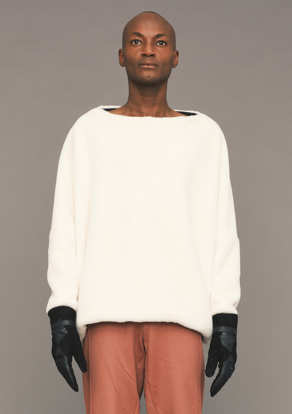 SWEATER POCKETS - SOFT FAUX FUR ivory - BERENIK