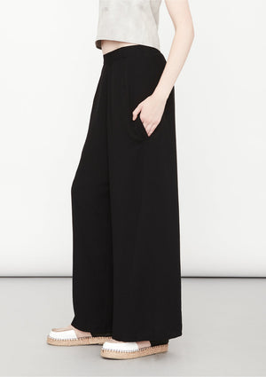 PANTS WIDE ELASTIC - black plain - BERENIK