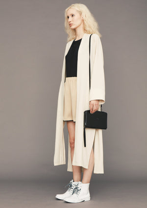 CARDIGAN LONG - SILKY STRETCH CREPE beige - BERENIK