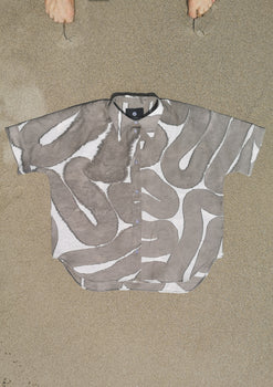 HOMEMADE - UNIQUE BLOUSE UNISEX - HAND PAINTED - grey / white