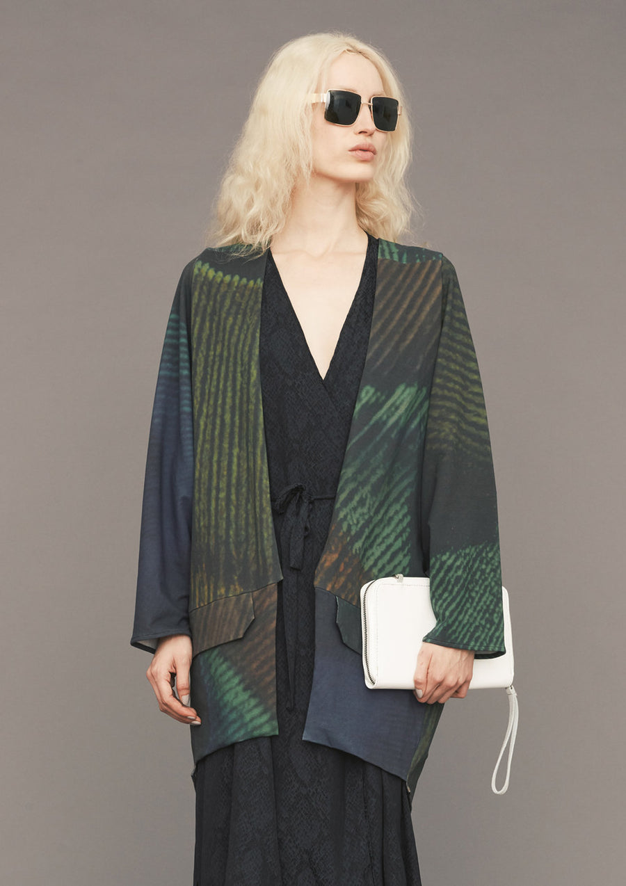 CARDIGAN - COTTON JERSEY printed peacock - BERENIK