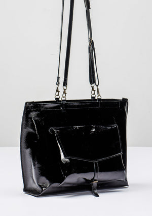 BAG/BACKPACK - PATENT LEATHER black - BERENIK