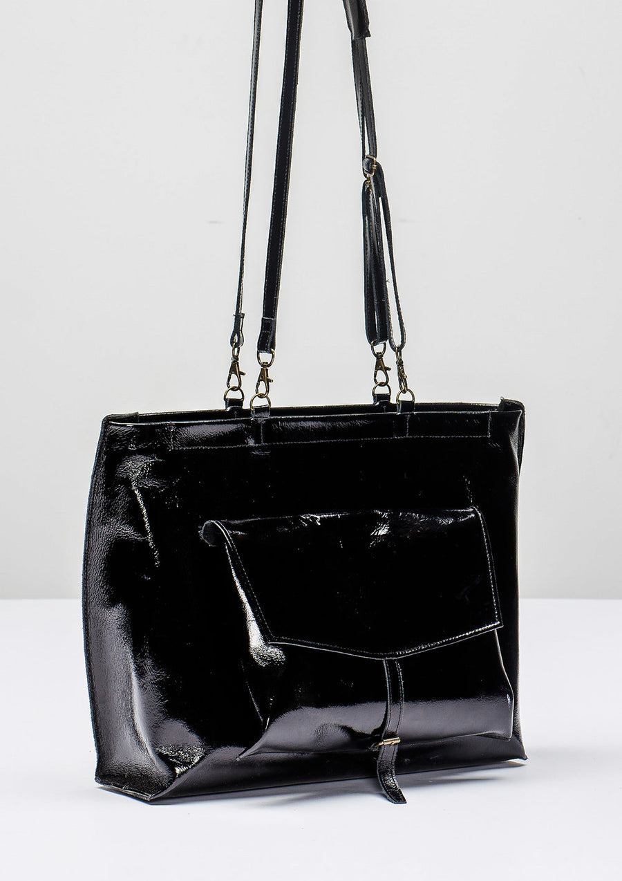 BAG/BACKPACK - PATENT LEATHER black