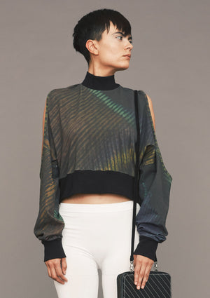 SWEATER CUT OUT TURTLENECK - COTTON JERSEY printed peacock - BERENIK