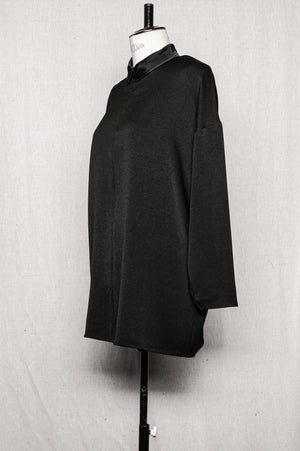 SAMPLE - BLOUSE ZIP COLLAR - heavy draping black
