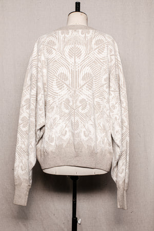 SAMPLE - SWEATER OVERSIZE - knit jacquard beige/white