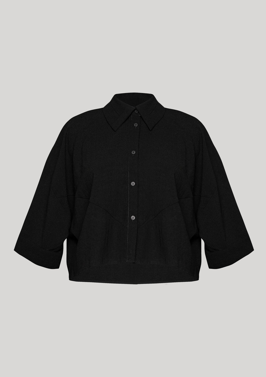 BLOUSE - SHORT SLEEVES - black plain - BERENIK