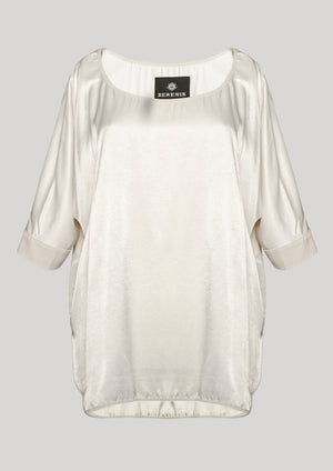 TOP OVERSIZE - SILKY RAYON SATIN white
