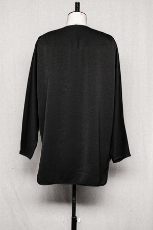 SAMPLE - SHIRT WITH ZIP LONG SLEEVES - heavy draping black