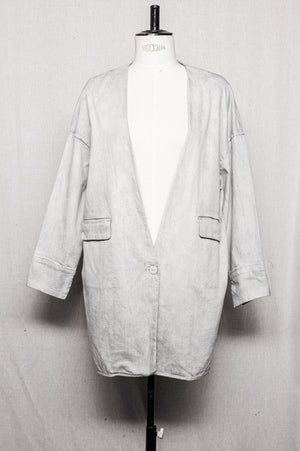 SAMPLE - SUMMER JACKET WITH BUTTON AND POCKETS - denim washed grey