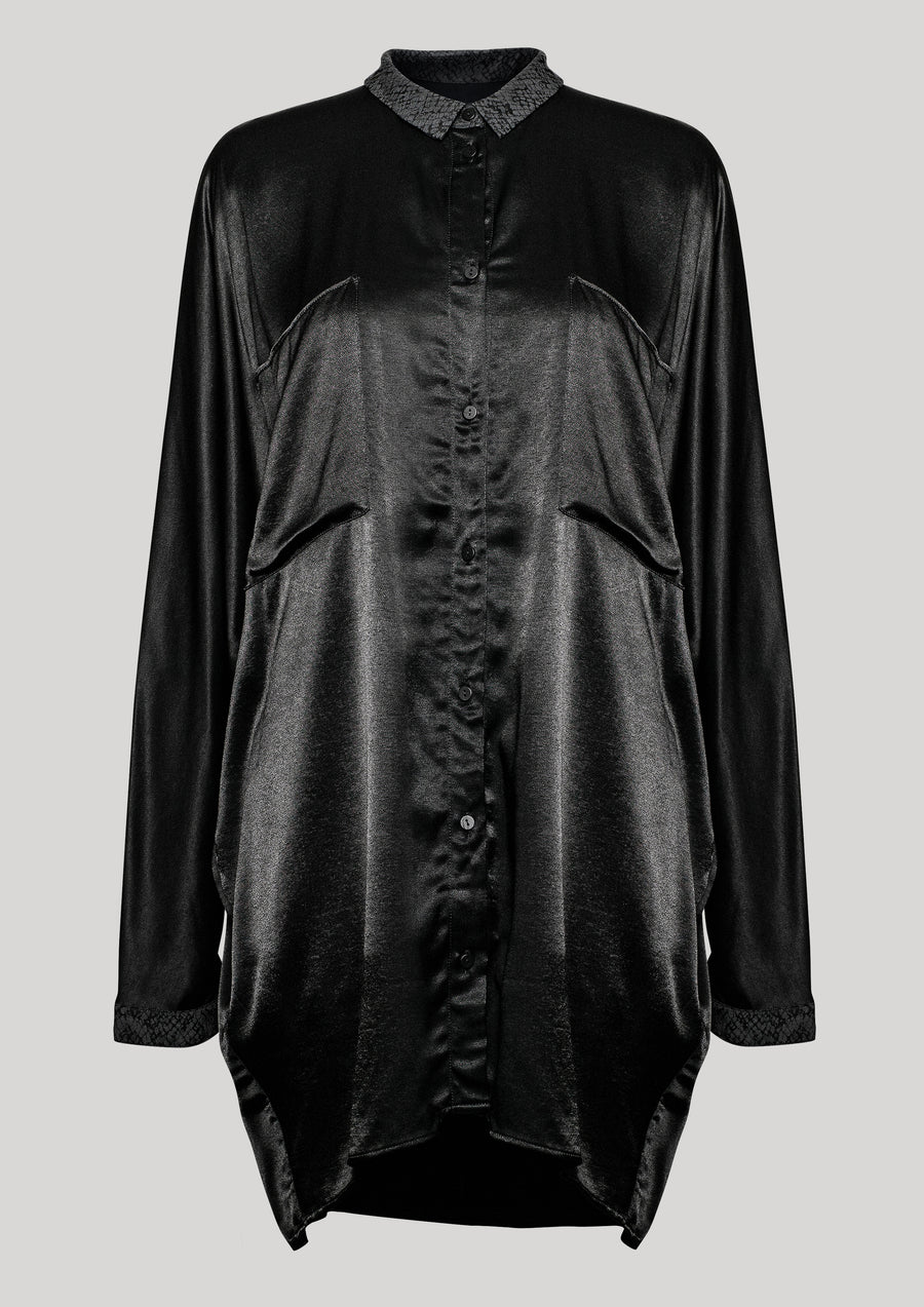 BLOUSE COLLAR - SILKY RAYON SATIN black