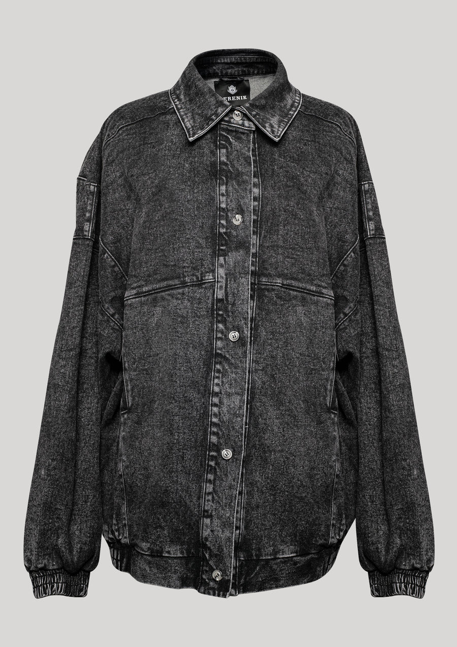 JACKET OVERSIZED - DENIM washed black - BERENIK
