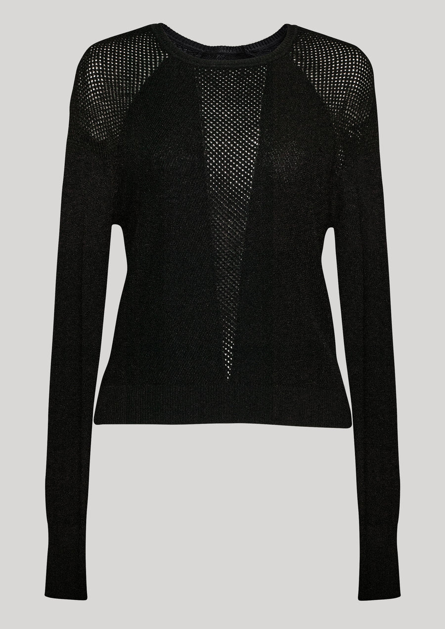 SWEATER LONG SLEEVE - KNIT TRANSPARENT black