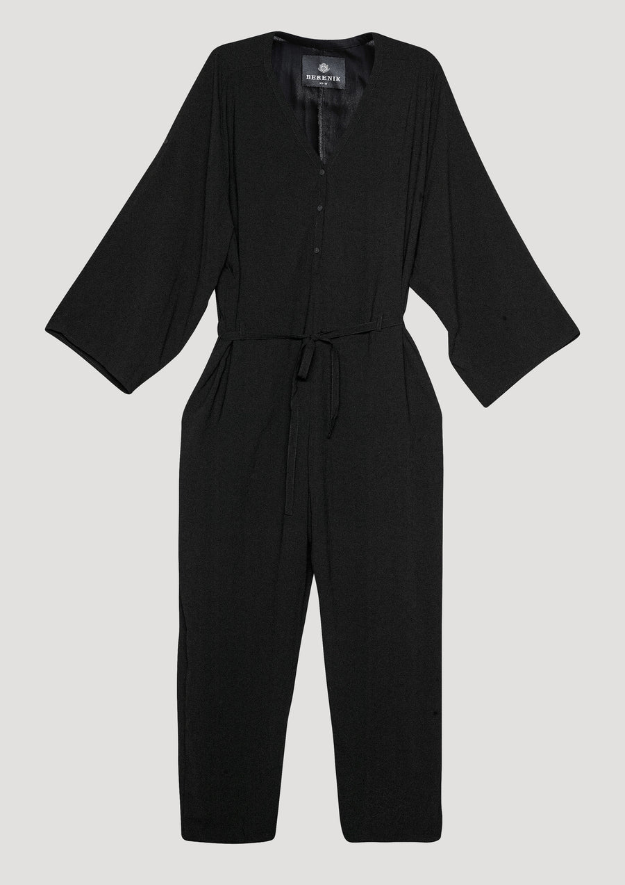 JUMPSUIT-LOOSE/BELT - black plain - BERENIK