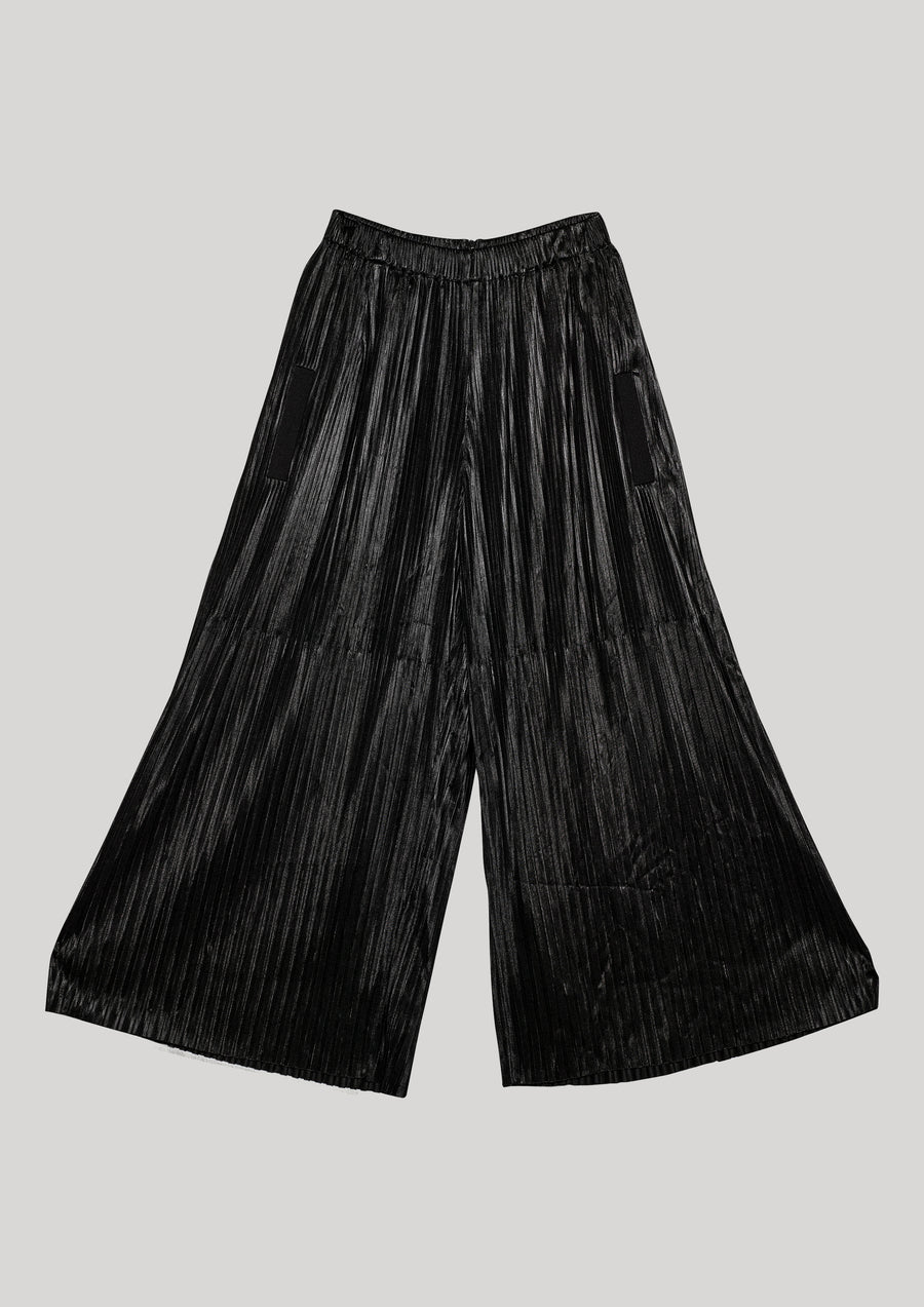 PANTS WIDE ELASTIC - black pleated - BERENIK