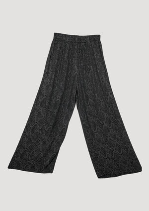 PANTS WIDE ELASTIC- JACQUARD SATIN black snake
