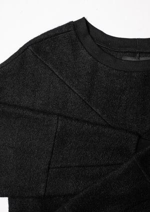 SWEATER PATCHWORK - WOOL BLEND black
