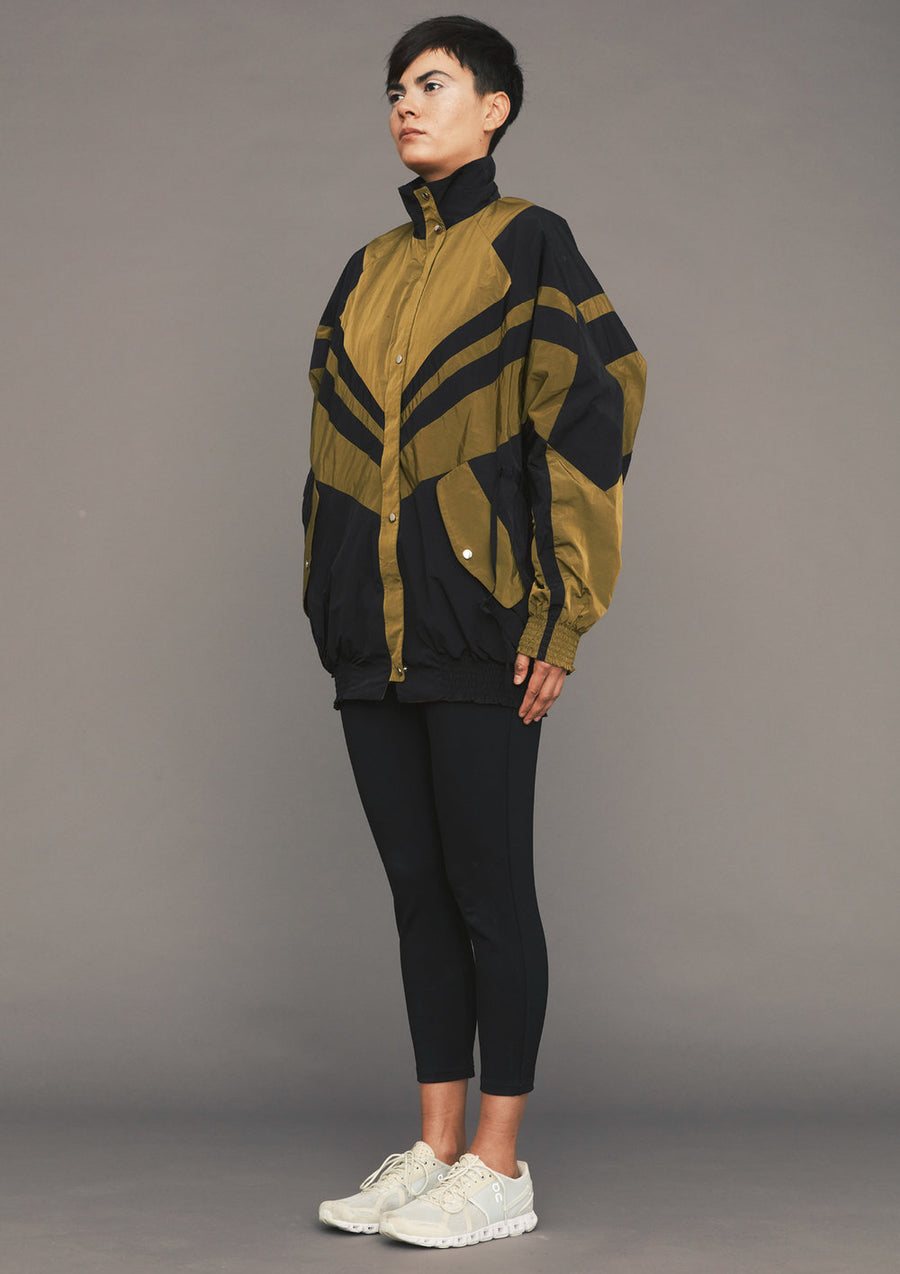 SKI JACKET - LIGHT WEIGHT WATER REPELLENT patchwork black/gold - BERENIK