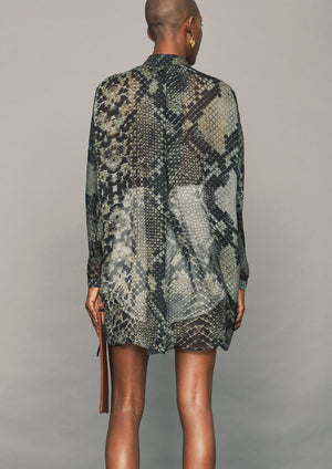 OVERSIZED BLOUSE - SILK MOUSSELINE - PRINTED Snake black/brown