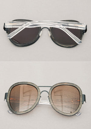 BIG UNISEX BAMBOO SUNGLASSES - dark brown with transparent temples