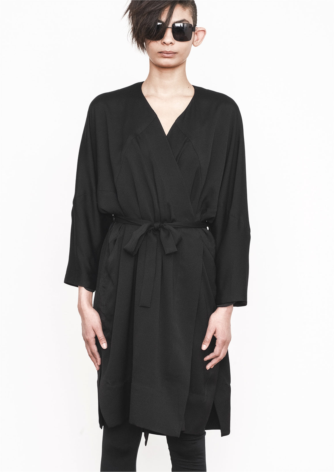 CARDIGAN - BLACK DRAPING