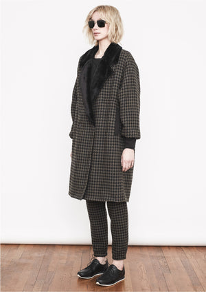 COAT TWEED - brown tweed with black fur lining