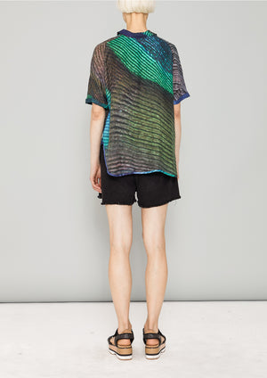 BLOUSE SHORT SLEEVES - SILKY CUPRO printed peacock