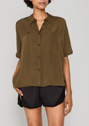 BLOUSE SHORT SLEEVES - SILKY CUPRO khaki