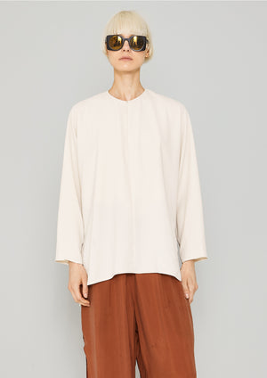 SHIRT ZIP OVERSIZED - SILKY STRETCH CREPE beige