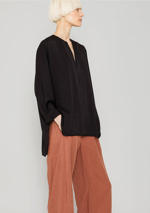 SHIRT ZIP OVERSIZED - HEAVY DRAPING black