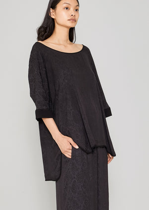 TOP OVERSIZED - JACQUARD SATIN black snake