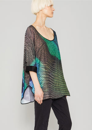 TOP OVERSIZE - SILKY CUPRO printed peacock