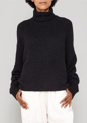 SWEATER TURTLENECK - KNIT PEARL black
