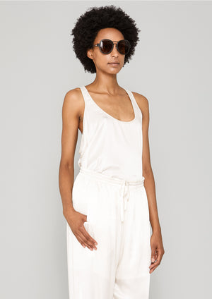TANK TOP - SILKY RAYON SATIN white shiny