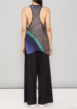 TANK TOP - SILKY CUPRO printed peacock