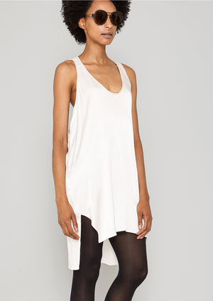 TANK TOP OVERSIZED - SILKY SATIN white