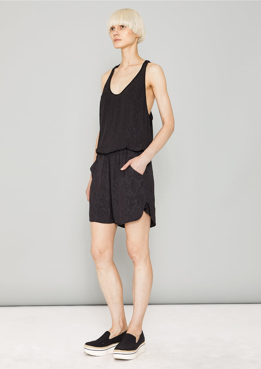 TANK TOP OVERSIZED - JACQUARD SATIN black snake