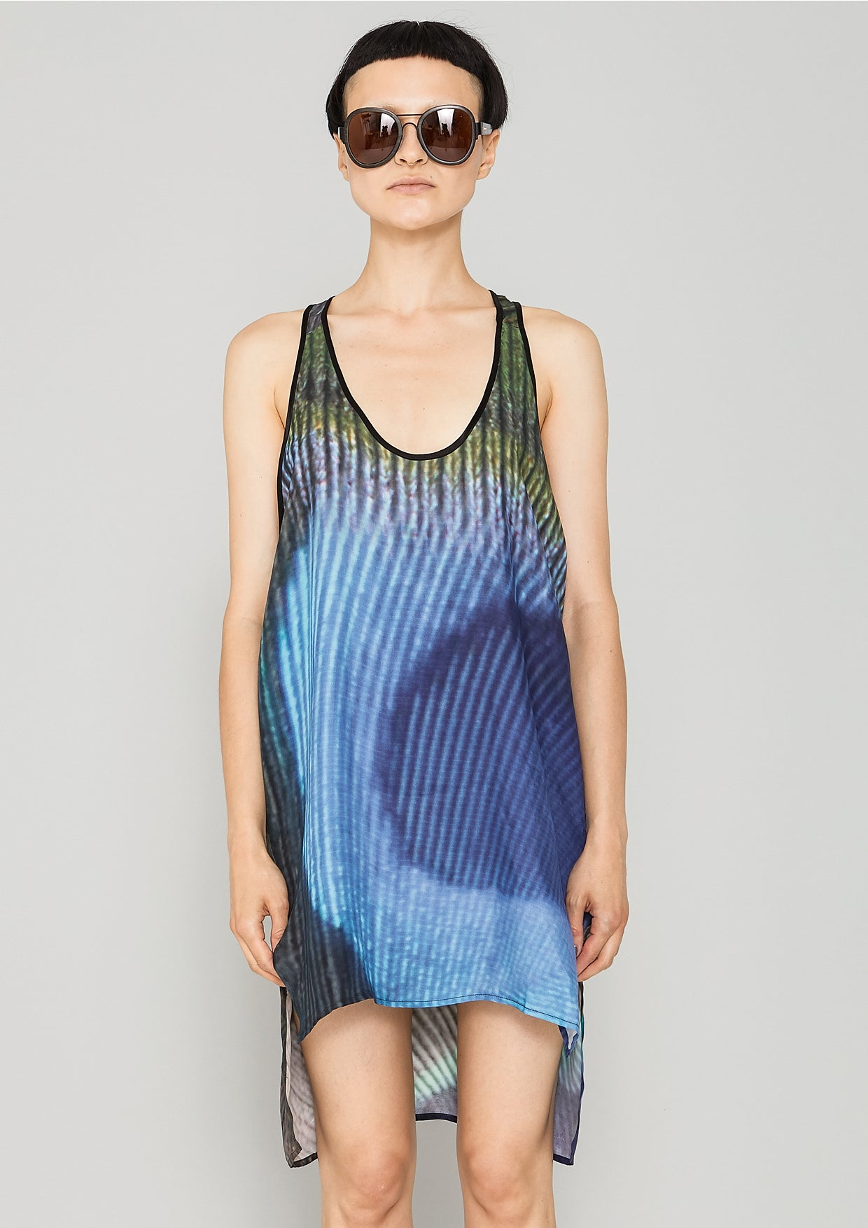 07eac74391d1ad TANK TOP OVERSIZED - SILKY CUPRO printed peacock