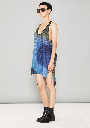 TANK TOP OVERSIZED - SILKY CUPRO printed peacock