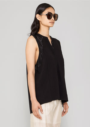 BLOUSE SLEEVELESS - HEAVY DRAPING black